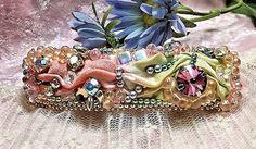 Hair Jewelry!  Shibori Silk and bead embroidery, plus a Swarovski rivoli for extra sparkle.