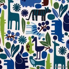 Fabric... 2D Zoo pool by Alexander Henry Fabrics REMNANT (24.5 x 44)