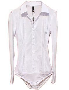 0392254b00a ZAMME Womens Long Sleeve Slim Shirt Bodysuit Top Blouse White     Details  can be found by clicking on the image.Note It is affiliate link to Amazon.