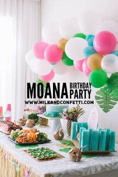 What little girl wouldn't love a Moana themed birthday party?! I threw one for my three year old and she had so much fun. Click through to get ideas to DIY the food and decorations for your own Moana themed party. #milkandconfetti #birthdayparty #birthdaygirl #moana #moanabirthday