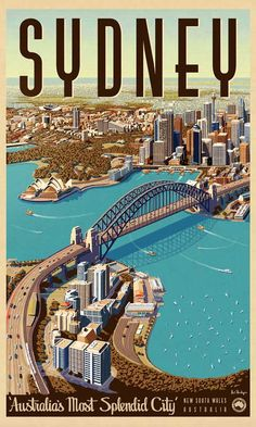 Sydney, Splendid City - Vintage Travel Poster by James Northfield www. - Sydney, Splendid City – Vintage Travel Poster by James Northfield www. Music Poster, Old Poster, Poster City, Poster Poster, Pub Vintage, Photo Vintage, Posters Australia, Australian Vintage, Australian Art