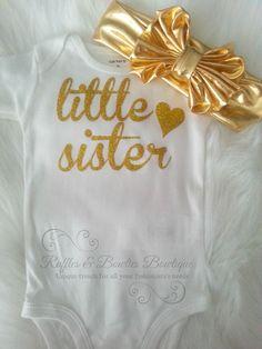 Little Sister Gold Glitter Onesie
