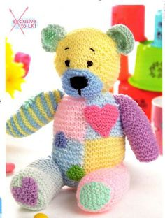 Patchwork Bear n Baby Knitting Patterns, Knitting Bear, Teddy Bear Patterns Free, Teddy Bear Knitting Pattern, Knitted Teddy Bear, Crochet Teddy, Crochet Bear, Teddy Bears, Free Knitting