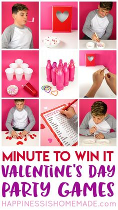 These Minute to Win It Valentine Games will be the hit of your Valentine's Day party! Valentine Minute to Win It Games for kids and adults - everyone will want to play! via day party for kids classroom Valentine Minute to Win It Games My Funny Valentine, Kinder Valentines, Valentines Day Activities, Valentines Day Party, Valentines Party Ideas For Kids Games, Ideas Party, Class Party Ideas, Sleepover Activities, Homemade Valentines