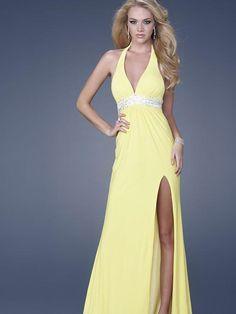 Neckholder Lange Abendkleid Gelb