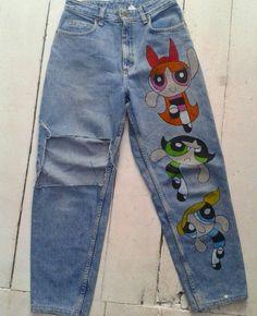 "bowsdontcry: "" POWAPUFF GIRLS jeans handmade by Bowsdontcry clothing. Painted Jeans, Painted Clothes, Diy Fashion, Ideias Fashion, Fashion Outfits, Diy Clothing, Custom Clothes, Trendy Outfits, Cool Outfits"
