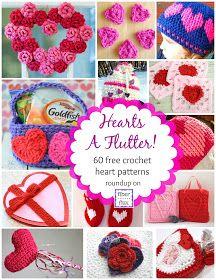 FREE 60 HEART PATTERNS - Fiber Flux...Adventures in Stitching: Hearts A Flutter! 60 Crochet Heart Projects