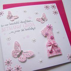 Beautiful Butterflies & Flowers Handmade Birthday Card.    www.justsimplylovely.co.uk