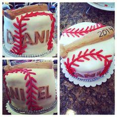 Baseball cake with a bat. Made with marshmellow fondant. Marble cake inside. Graduation