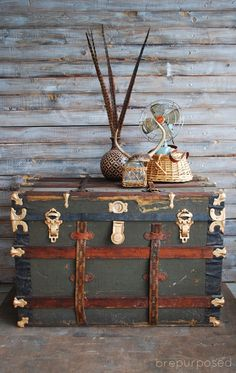 Check out this incredible Storage Trunk Makeover with amazing gold accents, a fu. Check out this incredible Storage Trunk Makeover with amazing gold accents, a fun inside and some new leather straps from old belts! Wooden Trunks, Old Trunks, Vintage Trunks, Antique Trunks, Vintage Wood, Diy Storage Trunk, Creative Storage, Trunk Makeover, Furniture Makeover