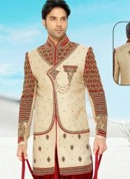 Topnotch Beige Pure Silk & Banaras Indo Western With Velvet Fancy Patiala