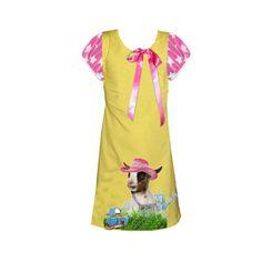 Geel Roze ster Geitjes jurkje maakt deel uit van de nieuwe zomercollectie van janey . Geweldig voor een verjaardag of een feestje