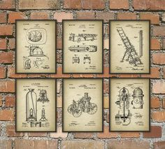 Firefighting Patent Prints Set Of 6 - Firefighter Art Posters - Fireman - Fire House - Fire Equipment - Home Decor - Giclee Art Print