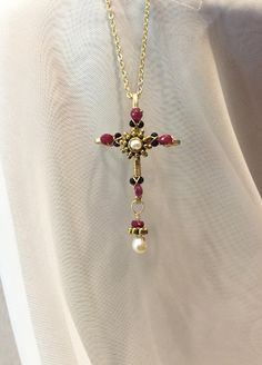 Ruby cross-dainty cross-wire wrapped beaded cross pendant necklace-beaded crucifix-gold cross-brass cross-wire cross-renaissance cross by DivineCrossings on Etsy