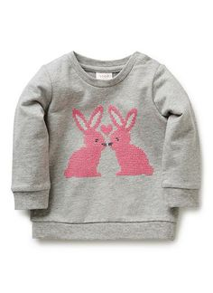100% Cotton Windcheater. Long sleeved, french terry sweat. Features cross-stitch of two bunnies on front. Snaps on baby's left shoulder for easy dressing. Regular fitting silhouette. Available in Dove Marle.