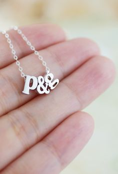 Personalized Initial friendship necklace, couple necklace with Sterling Silver chain from EarringsNation Bridesmaid gifts