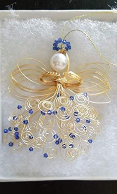 Gold or Silver Handmade Guardian Wire Angel Ornament - Saphire - September Quilling Christmas, Christmas Ornament Crafts, Christmas Bows, Christmas Angels, Holiday Ornaments, Christmas Decorations, Xmas, Beaded Ornaments, Angel Ornaments