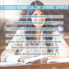Apakah kamu sebenarnya jenius?  #rahasiagadis #rahasiajenius Study Motivation Quotes, Study Quotes, Motivational Quotes For Life, Life Quotes, Reminder Quotes, Self Reminder, Quotes Lucu, Aries Quotes, Study Tips