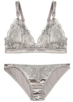 Stella McCartney lace and satin bra, £90, and briefs, £55