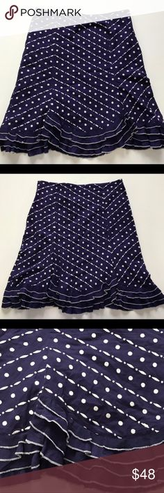 "Odille Anthropology Ruffle Hem Skirt Sz 14 Skirt is 100% cotton, trim is 100% Silk. Skirt is fully lined & has a zipper on the left hip. Flat across waist approx 19"", length approx 26"". Odille Skirts A-Line or Full"