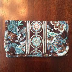 Vera Bradley Brown and Blue Wallet CUte used once very broadly wallet Vera Bradley Bags Wallets