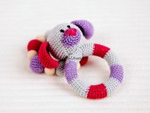 SALE Dog Baby Toy Rattle Baby teether Set of 2
