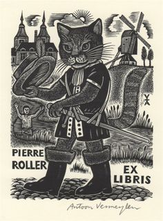 Antoon Vermeylen (Belgian, b. 1932). Pierre Roller Ex Libris.