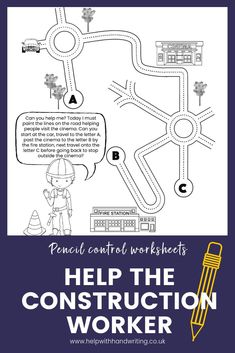 Is your child just learning to control a pencil. Help them improve their pencil control skills by tracking a pencil around a town as directed by the construction worker. 8 different pages, every route is different. Suitable for 5 to 6 year olds. Handwriting kids teaching. #pencilcontrolactivitiesfinemotor #pencilcontrol