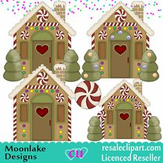 Lebkuchen Haus Digital Clipart für von MoonlakeGreetings auf Etsy