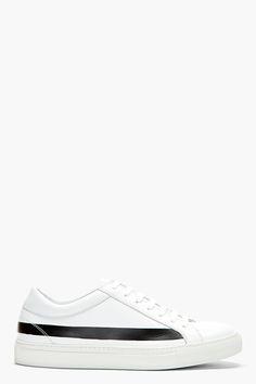 COMME DES GARÇONS SHIRT White Leather Low Top Stripe Print Sneakers