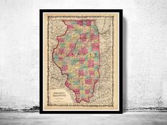 Old Map Illinois 1860 United States of AmericaThis is a reproduction of an highly detailed vintage mapThe Map has various dimensionsThe map is printed on fine matte museum archival paper 270gsmThe frame is not included.This page will be carefully ...