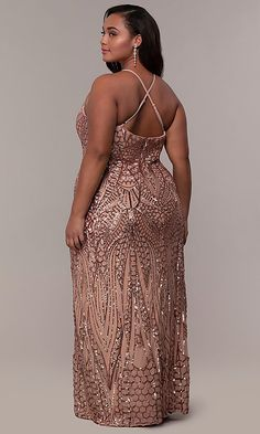 Shop plus-size sequin-mesh prom dresses at PromGirl. Plus-sized formal dresses, long high-neck prom dresses, and sequin-mesh plus evening dresses with adjustable straps and open backs. Plus Size Sequin Dresses, Long Sequin Dress, Plus Size Formal Dresses, Wedding Dresses Plus Size, Art Deco Wedding Dress, Art Deco Dress, Prom Dress Stores, Prom Girl, Bridesmaid Dresses