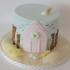 Beach hut themed cake with a little ice cream on top to finish it off - Tutorial to buy on etsy - https://www.etsy.com/uk/listing/195376153/beach-hut-ganached-cake-pdf-tutorial?ref=sr_gallery_1&ga_search_query=beach+hut+tutorial&ga_search_type=all&ga_view_type=gallery