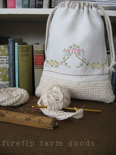 homespun living:  drawstring pouch combination of crochet and embroidery