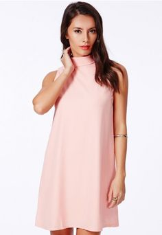Jemna Pink Shift Dress With Roll Neck - Dresses - Shift Dresses - Missguided