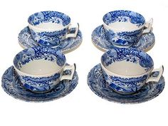 $89.00 Spode Blue Italian Set of 4 Tea Cups and Saucers  From Spode   Get it here: http://astore.amazon.com/ffiilliipp-20/detail/B0009DUUAI/185-1387245-1688722