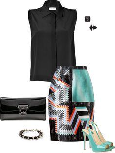 """Geometric Print Skirt"""