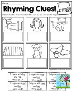 Rhyming Clues!  Such a FUN and effective way to READ and Rhyme! TONS of great printables!