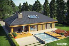 Gabriel G1 MULTI-COMFORT to dom, który przyciąga uwagę atrakcyjną formą oraz niepowtarzalną elewacją – szlachetna misktura chłodnej szarości i ciepłego drewna tworzy wyjątkowy efekt. Wnętrze skrywa jasne i przestronne pomieszczenia, które z pewnością zadowolą miłośników domowego komfortu i... Modern Bungalow House, Cottage Style House Plans, Three Bedroom House Plan, Bungalow House Plans, House Plans Mansion, My House Plans, Modern House Plans, Single Floor House Design, Small House Design