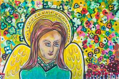"""Archangel Gabriel"" Abstract Acrylic on Canvas (24"" x 36"") **"