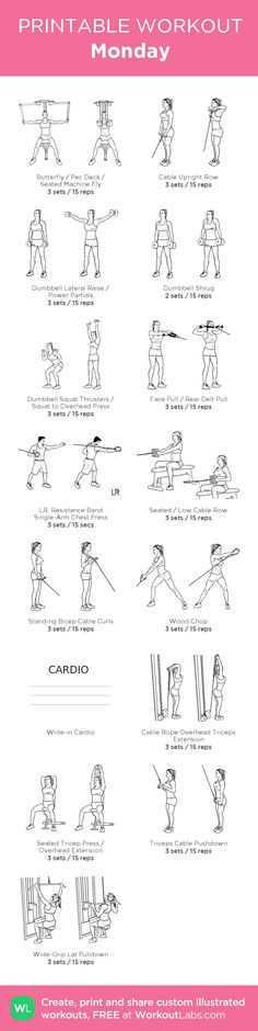 Monday –UPPER BODYmy custom workout created at WorkoutLabs.com • Click through to download as printable PDF! #customworkout