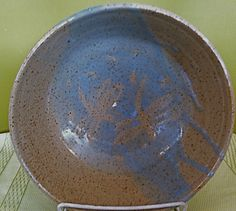 Medium stoneware serving bowl with blue by paradisepottery on Etsy, $35.00
