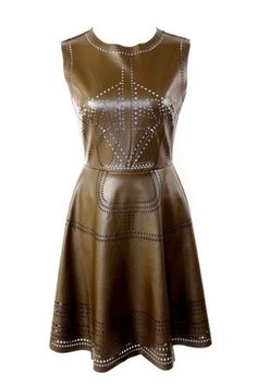 Olive green fit and flare laser cut vegan leather dress