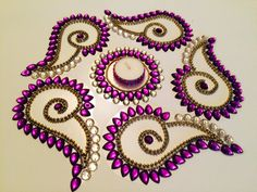 Kundan Rangoli / Table Decor /Floor Art / Diwali Rangoli / Wedding Decor / Wedding Center Piece - Set of 6