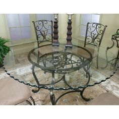 Glass Top Wrought Iron Dining Table – Foter – metal of life Dining Table Makeover, Wrought Iron Furniture, Glass Dining Table, Top Kitchen Table, Glass Top Table, Round Glass Table, Glass Dinning Table, Wrought Iron Dining Table, Wrought Iron Glass