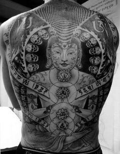 Buddha, skull, chakra back tattoo by estelle
