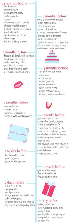 This wedding planning timeline is honestly the most amazing thing ever.