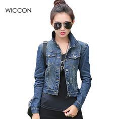 Autumn Jeans jacket women fashion casual slim short jean tops vintage full sleeve denim jacket woman small coat clothes WICCON