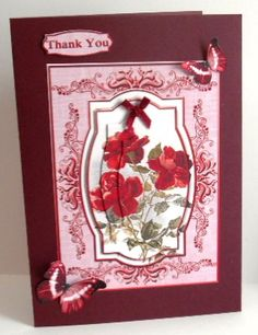 Cardtopper red roses 290 on Craftsuprint designed by Gertraud Lueckel - made by Fran Turner - I printed this sheet on to photo paper and cut out all the elements. I mounted the main topper on to a burgundy card with dst and used foam pads to add the decoupage. I added the butterflies with silicone glue, a burgundy satin ribbon bow and a Thank you greeting.  - Now available for download!