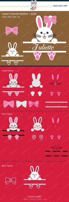 Sweet easter bunny Split Bow Frame rabbit  DXF SVG Cut File for Cricut Design, Silhouette studio, Sure A Lot, Make the Cut, instant Download
